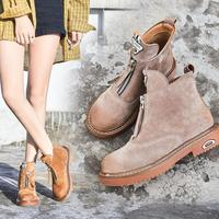 {D&Henlu}Genuine Leather Motorcycle Boots Chelsea Boot Flat Heel Shoes Woman 2018 New Autumn Winter Boots Women Shoes Zip