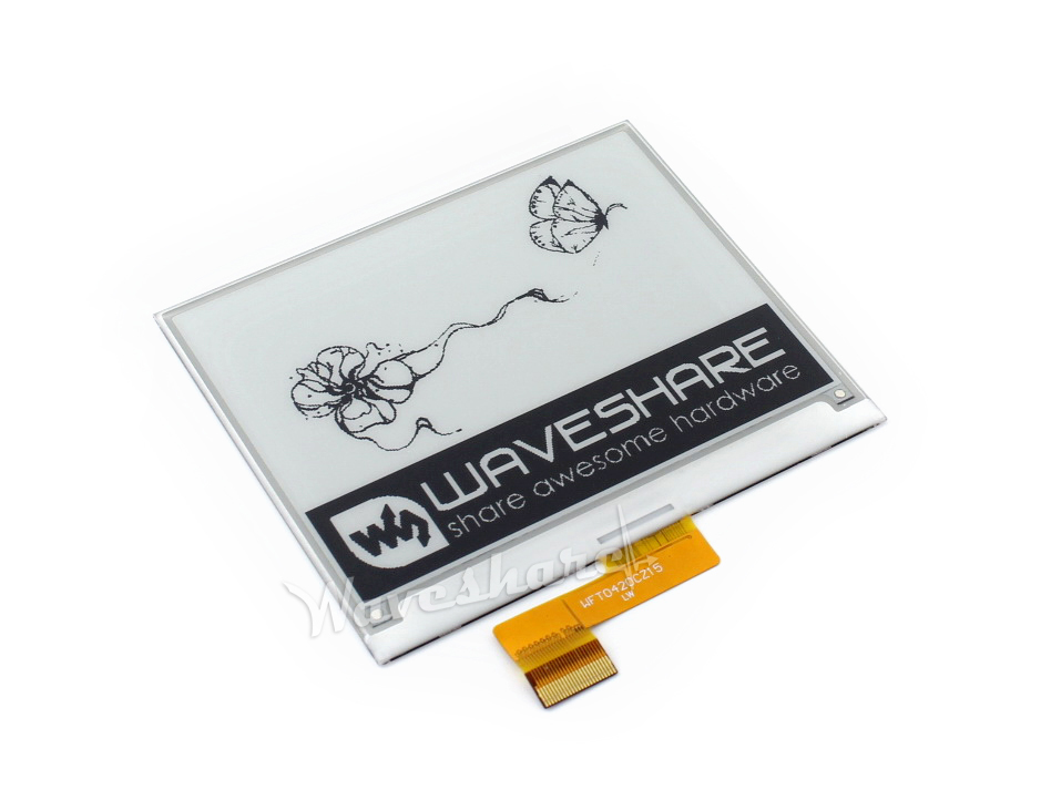 Waveshare 400x300, 4.2inch E-Ink Raw Display Without PCB,Two-color:Black, White,SPI Interface,No Backlight