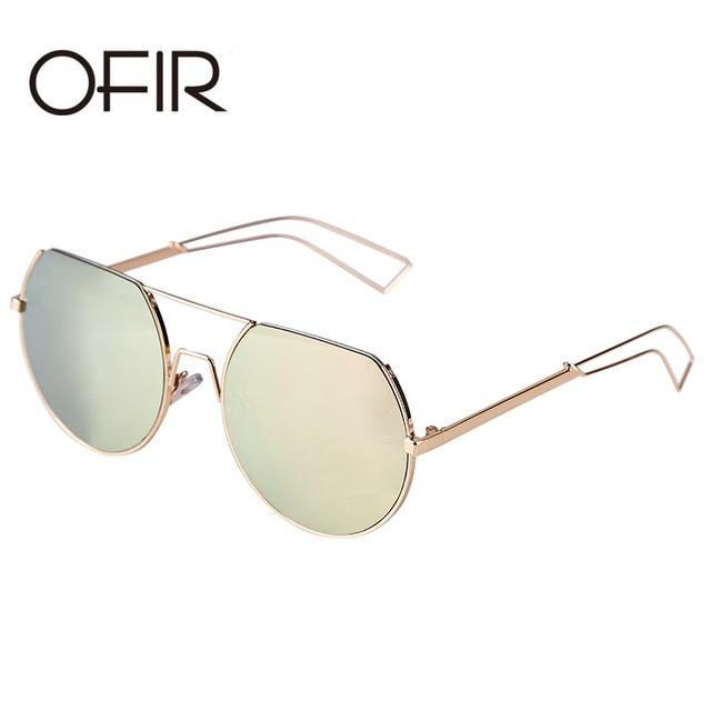 OFIR Vintage Round Sunglasses Women Reflective Sun glasses Female Women's Shades Brand Designer lunette de soleil UV400