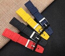 Luxe Merk Natuur Rubber Siliconen Horloge Band 22Mm 24Mm Zwart Rood Blauw Geel Horlogeband Voor Navitimer/Avenger/Breitling Logo Op