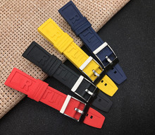 Luxury Brand Nature Rubber Silicone Watch Band 22mm 24mm Black Red Blue Yellow Watchband For Navitimer/Avenger/Breitling Logo On