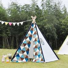 Blue Orange Large Outdoor Hammock Tent Cotton Wood Mosquitos Net Kids Children Outdoor Home Textiles Canvas Pretend Play Tipi