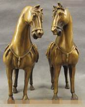 "S4210 10"" Ancient Tang Dynasty Bronze Copper FengShui Chinese Zodiac Horse Statue Pair(China)"