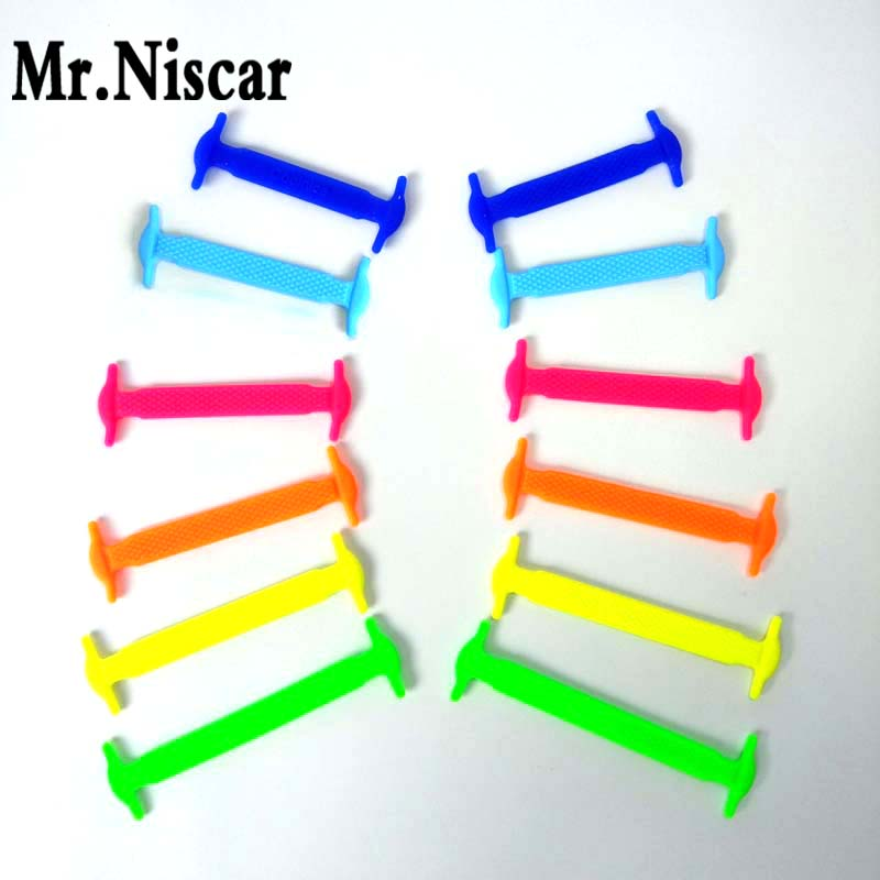 Mr.Niscar 1Set / 12Pcs Նոր ձևավորում Երեխաներ առանց փողկապի ռետին Առաձգական կոշկակարի կոշկեղենի կոշիկներով ժապավեններ Վազող կոշիկներ