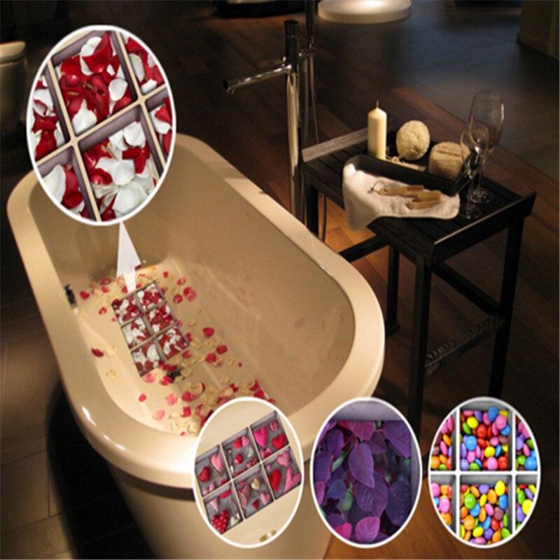Luckyfine 6Pcs 13x13cm PVC 3D Anti Slip Waterproof Bathtub Sticker Cartoon Stone Pattern Bath Tools
