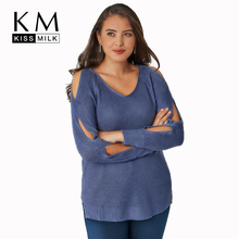 Kissmilk Plus Size Women Hollow Out Blue Scoop Neck Sweater 2018 Autumn New Arrival Solid Casual  Pullovers Sweater for Female
