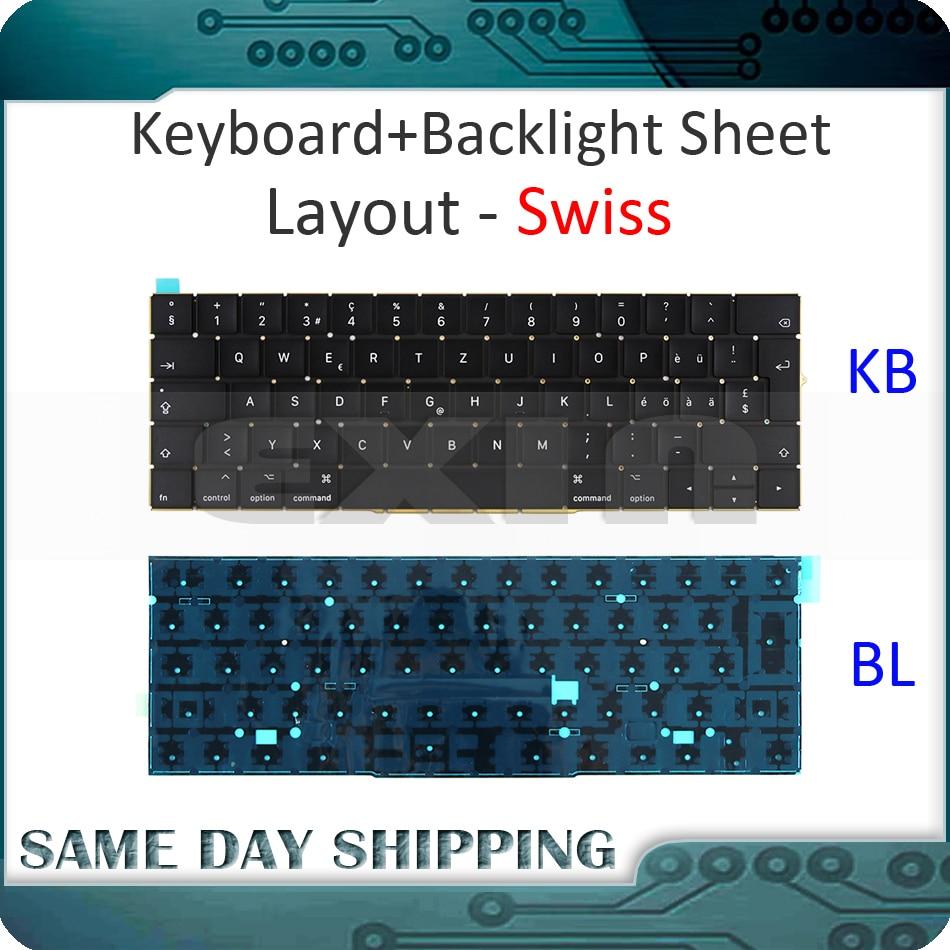 New for Macbook Pro Retina 15'' A1707 Keyboard Swiss Swizerland w/ Backlight Backlit EMC3072 EMC3162 Late 2016 Mid 2017 Year