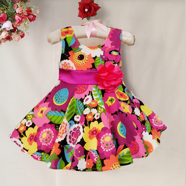 acfb47d48d 2016 new pattern Fashion Summer Baby Dress Floral print baby Dress with  flower bow children clothing for hawaii-in Dresses from Mother & Kids