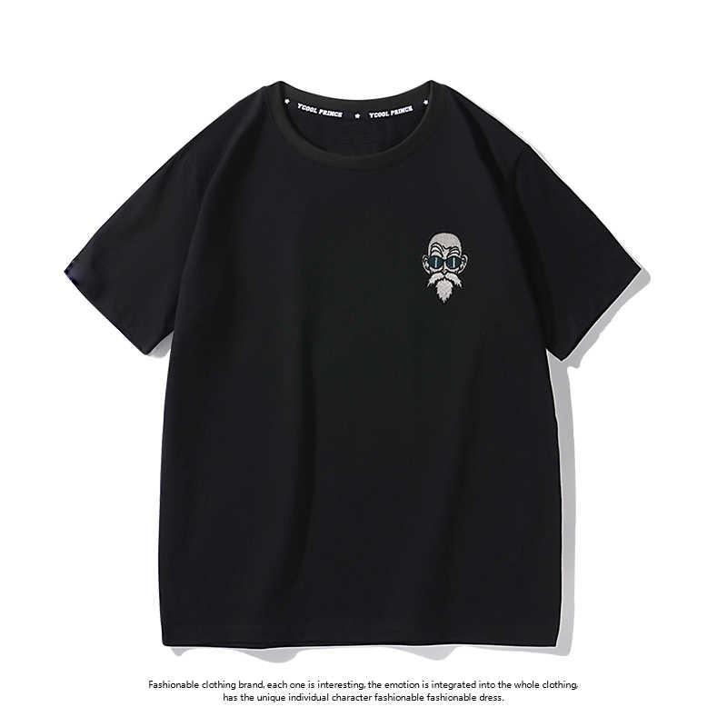 Новая Милая футболка модная короткая черная белая футболка с рисунком дракона Гоку Повседневная футболка из хлопка с круглым вырезом креативная