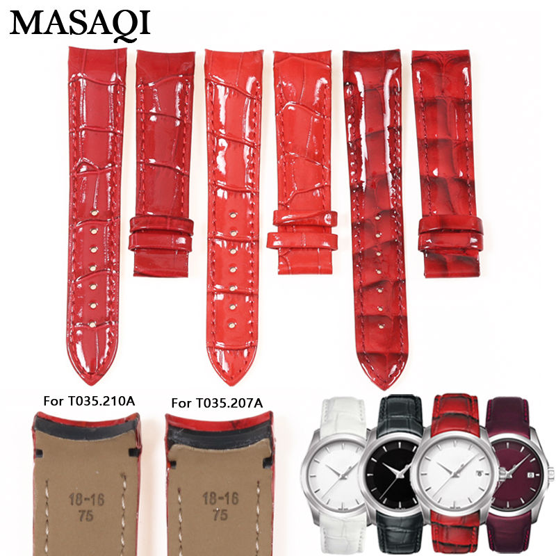 ФОТО MASAQI Women Watch Band For Tissot T035210A T035207 Watch Strap Genuine leather High Quality Nato Leather Strap Free Shipping