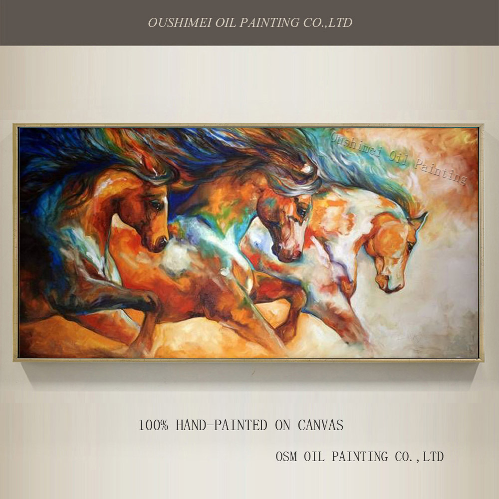 Эксперт ручной работы художника Высокое качество Аннотация лошадь картина маслом на холсте Бег лошадей масляной живописи для Гостиная укр...