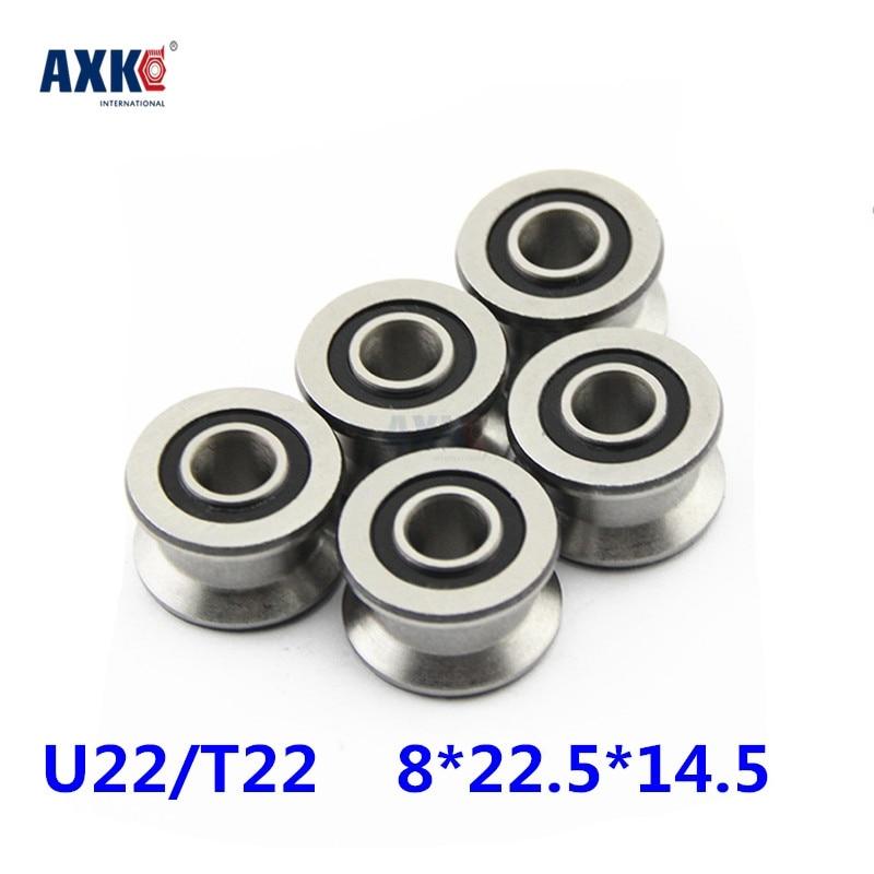 Rolamentos High Quality U22 8mm V / U Groove Pulley Bearings 8*22.5*14.5*13.5 Mm Ugroove Roller Wheel Ball Bearing U-22 Tu22 tv0630 tv0630vv v groove pulley ball bearings 6 30 8 mm track guide roller bearing