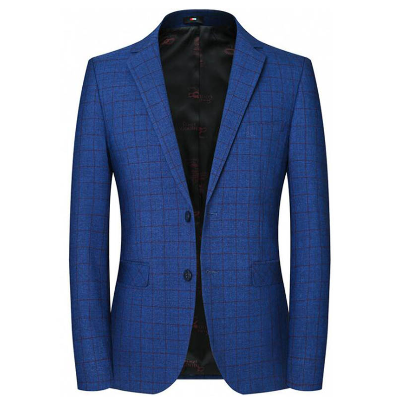Spring New Men's Suits Single Breasted 2 Buttons Slim Fit Blazer Men Casual Blue Plaid Jacket Terno Masculino Groom Wedding Suit