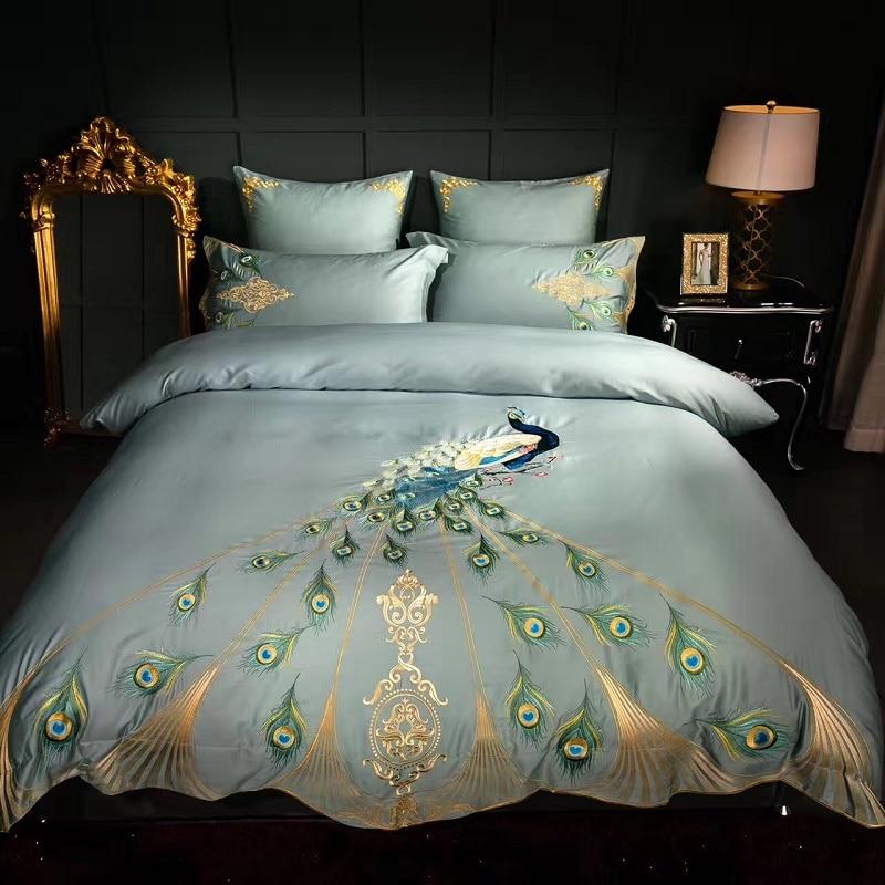 Luxury 60s Cotton Embroidery Blue Pea Bedding Set Duvet Cover Bed Linen Sheet Pillowcase Bedclothes King Queen Size 4pcs