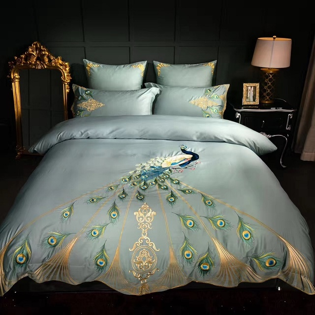 Luxury 60s Cotton Embroidery Blue Peacock Bedding Set Duvet Cover .