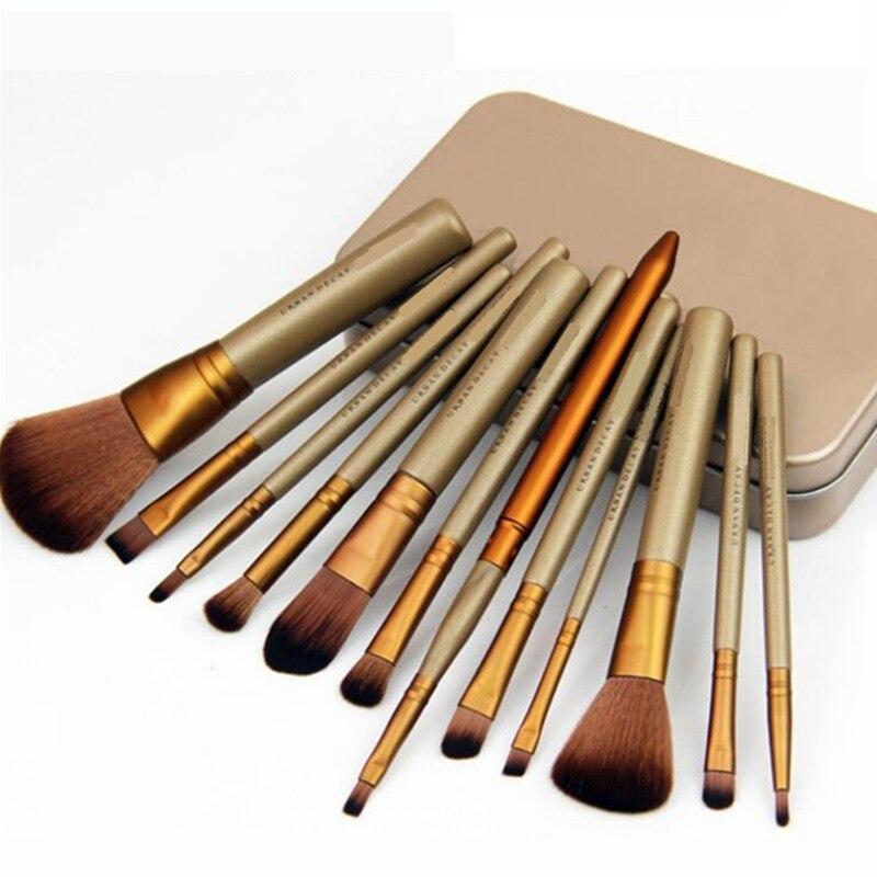 moda 12 pcs marca feminina premiuim conjunto de escova de maquiagem alta qualidade macio taklon cabelo
