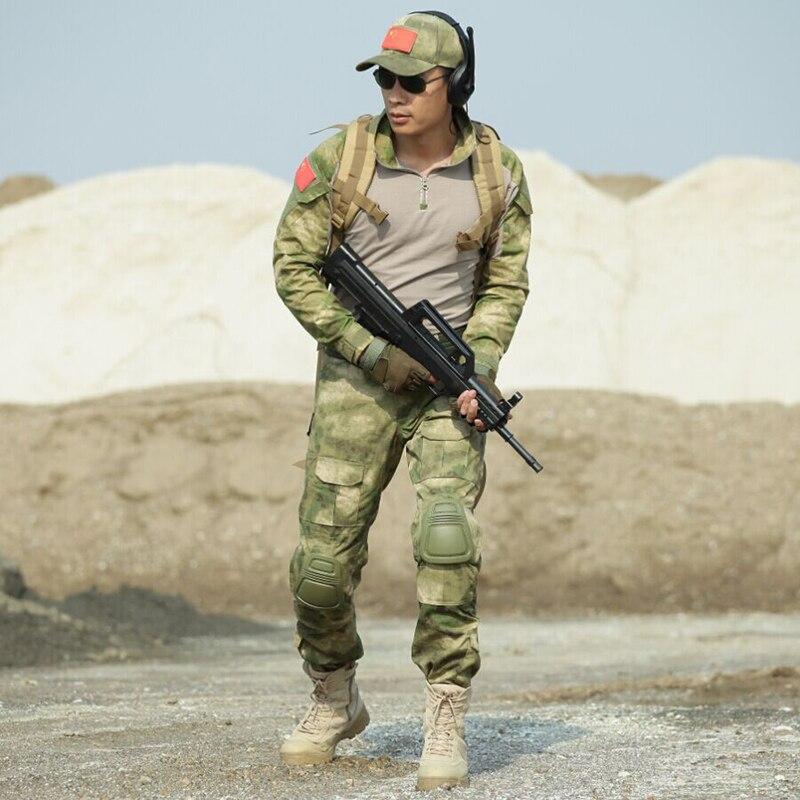 Erkek Kıyafeti'ten Erkek Setleri'de Askeri Üniforma Taktik Giysiler Özel Kuvvetler Kamuflaj Takım Elbise Ordu Kurbağa T Gömlek + Pantolon Erkekler CS Setleri + Diz Pedleri dirsek Pedleri'da  Grup 1