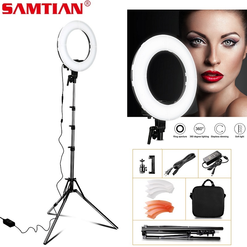 SAMTIAN RL 12 LED Ring Light With Tripod For Studio Photography Light Dimmable Annular Lamp 196PCS