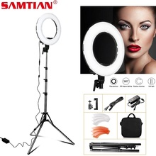 SAMTIAN RL-12 светодиодный кольцевой светильник с штативом для свет для фотостудии затемняемая круглая лампа 196 шт 5500 K кольцо макияж свет