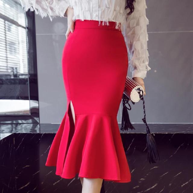 02b5b11f2cd Plus Size 5XL Female Casual High waist Skirt irregular Split Elasticity  skirt elegant Flounce Mermaid skirt Package hip skirt