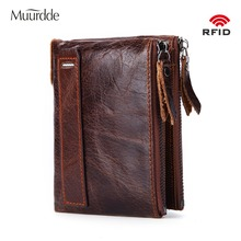 Muurdde New Crazy Horse Genuine Leather Men Wallet Rfid Double Zipper Short Coin Purse Small Vintage Male Wallets Brand Designer