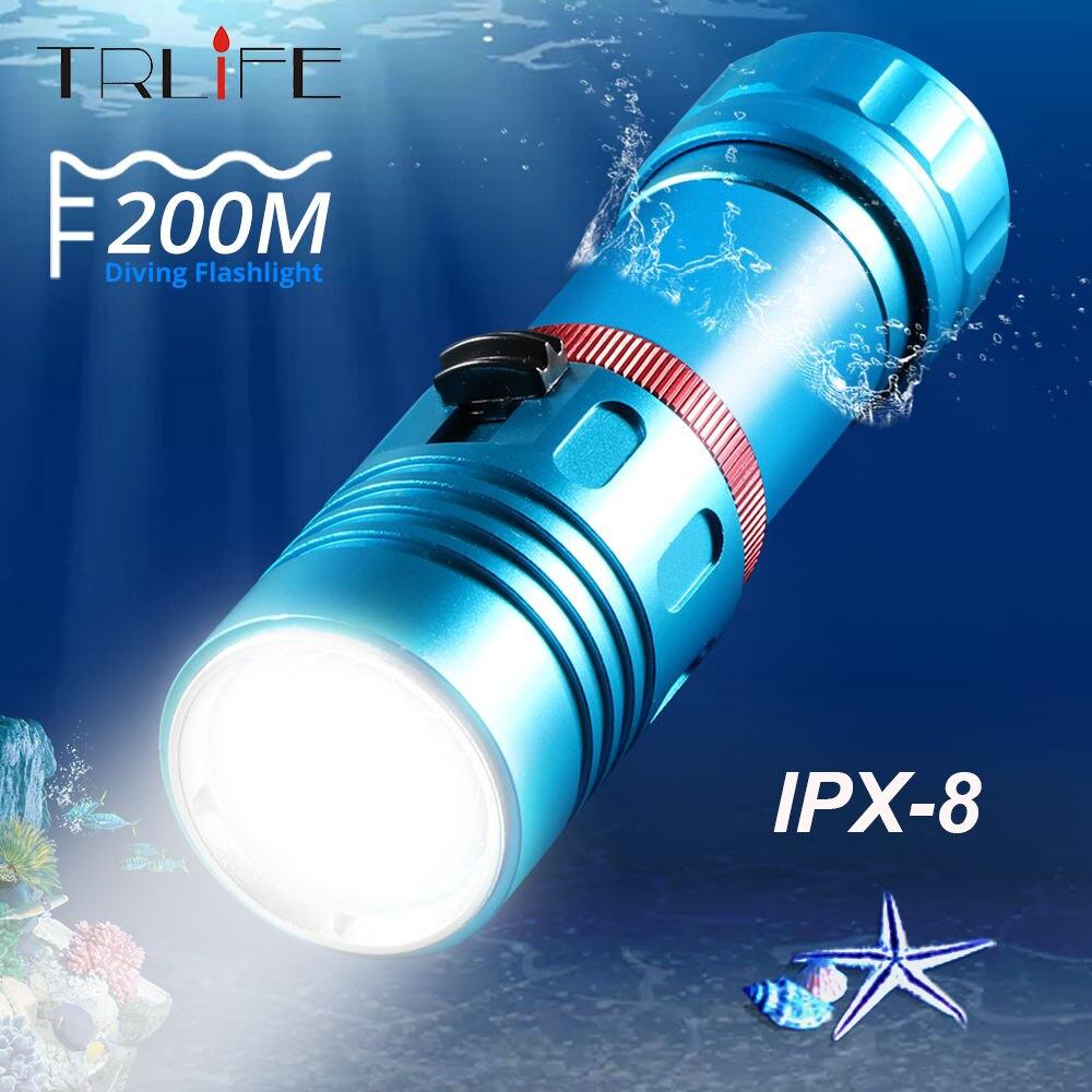 IPX8 Waterproof Level XM-L2 18650 Or 26650 Diving Flashlight LED Underwater Flashlights Portable Lantern Dive Light Lamp Torch