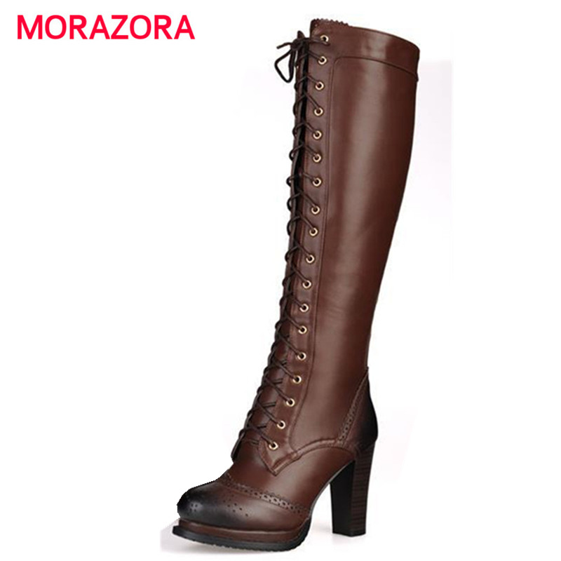 7417c4764 MORAZORA 2018 New winter fashion lace-up real genuine leather boots black  brown high heel