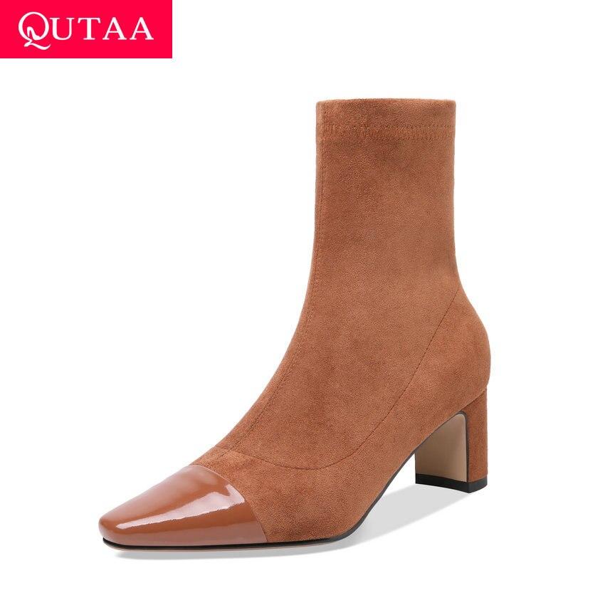 Qutaa 2019 스트레치 패치 워크 스웨이드 암소 가죽 앵클 부츠 슬립 온 지퍼 스퀘어 하이힐 가을 겨울 여성 신발 사이즈 34 39-에서앵클 부츠부터 신발 의  그룹 1