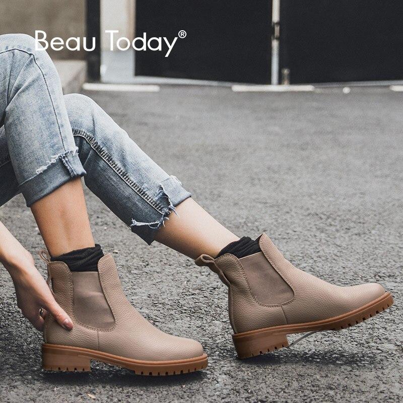 BeauToday Chelsea bottes femmes véritable cuir de vache boucle détachable Top qualité hiver dame cheville chaussures à la main 03261-in Bottines from Chaussures    1