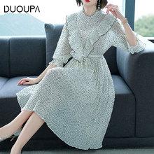 DUOUPA Ruffled 7-Sleeve Printed Polka Dot Chiffon Pleated Dress Tropical Beach Retro Bohemian Casual Mid-rise