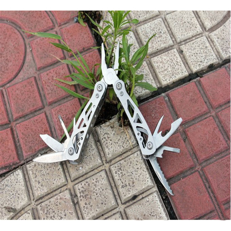 9 In 1 Portable New Outdoor Camping Survival Kits Multi Tools Stainless Steel Folding Plier Compact Knives