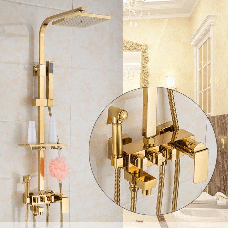 Européenne de luxe d'or kit de douche et qualité or robinet de douche avec solide en laiton kit de douche par qualité or kit de douche s