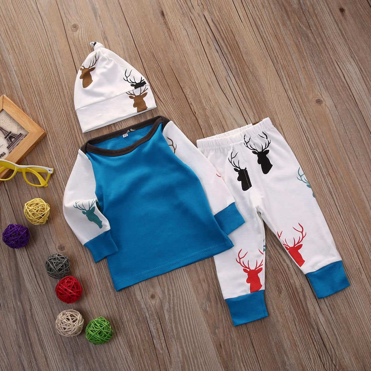 3Pcs Newborn Infant Baby Boys Girls Clothing Set 3pcs Top Deer Pants Leggings Hat Cotton Clothes Outfit Set Baby Boy Girl newborn baby boy girl 5 pcs clothing set cotton cartoon monk tops pants bib hats infant clothes 0 3 months hight quality