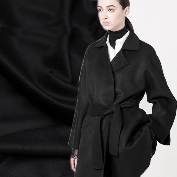 Чисто черный двойной-толстые высокие короткие гладкие волосы осень и зима шерстяное пальто кашемировая ткань одежды ткани