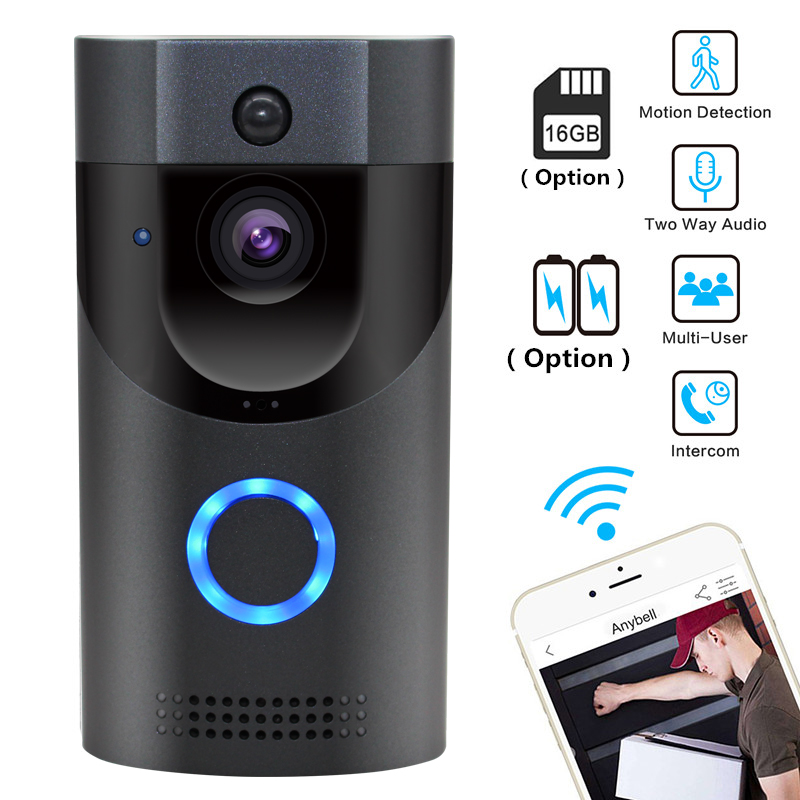 Anytek Wireless WiFi Video Doorbell 1.0MP Doorbell Camera Night Vision Two-way Audio Battery Operation With Indoor Chime