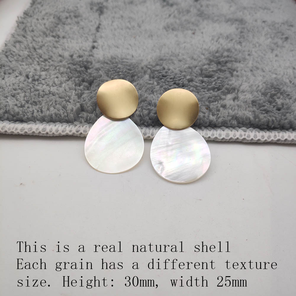 Fashion Wedding Jewelry Hanging Natural Shell Pearl Geometric Earrings High Quality Natural Shell Pendant Earrings for women P40 38