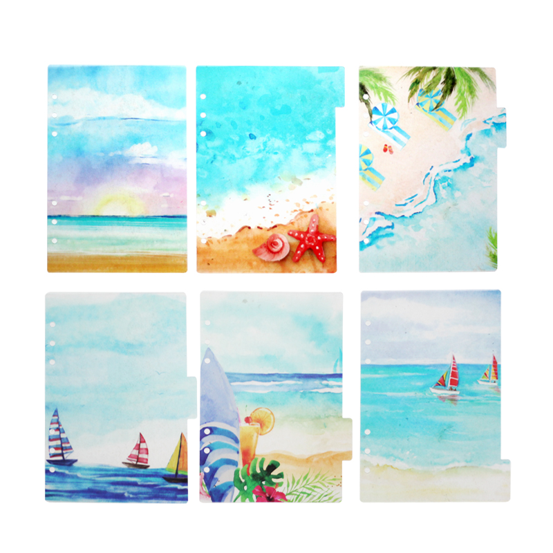 Summer Beach Cute Divider,  6pcs/set  Loose Leaf  A5 A6 Travel Notebook Page Index Divider, PP Binder Diary DIY Accessory