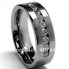Free Shipping USA Hot Selling Unique 8 MM Men's Titanium ring Wedding Band Ring with 9 large Channel Set CZ sizes 7 to 13(China)