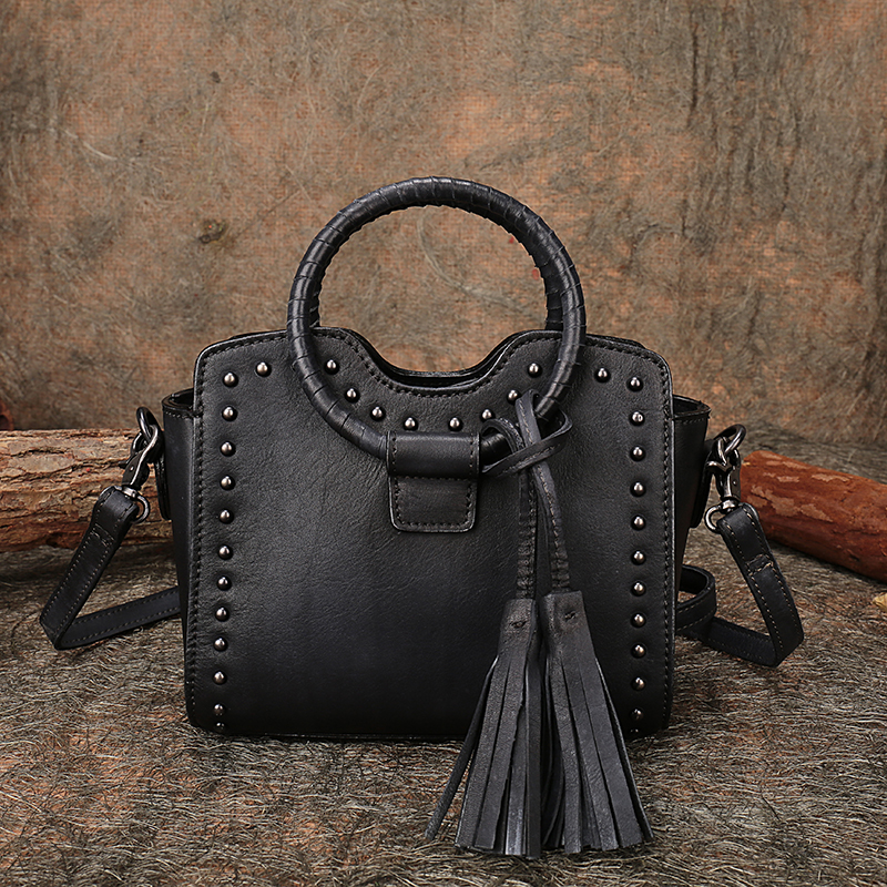 Studded Hand Bags Natural Leather Small Women Handbag 2019 Handmade Cowhide Shoulder Sling Bags Lady Messenger