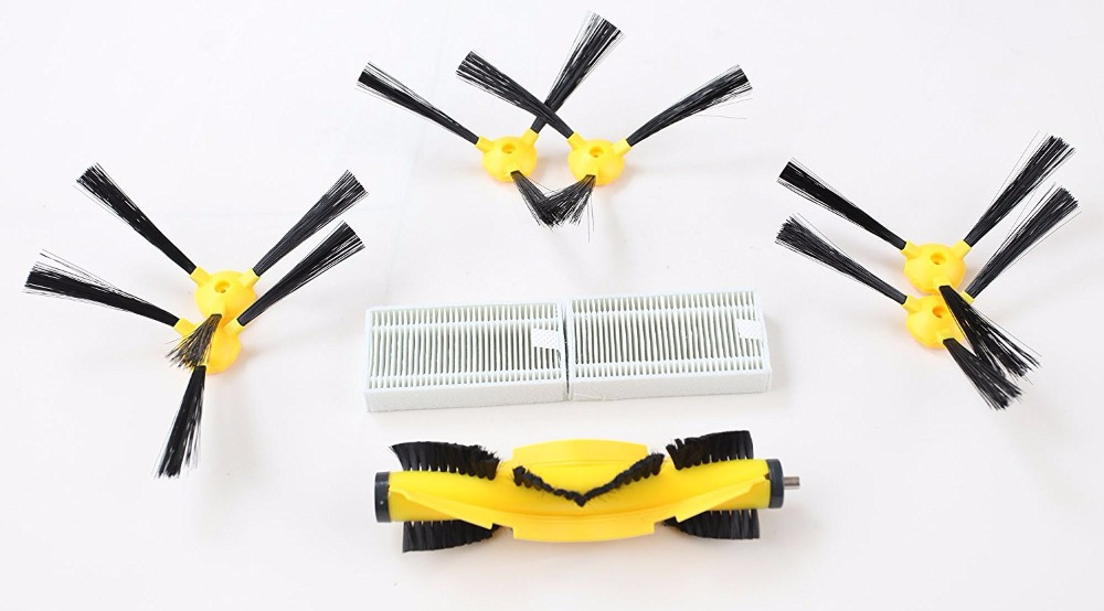 (For B6009) Spare Parts Pack for LIECTROUX  Robot Vacuum cleaner, Side Brush x 6pcs + HEPA Filter x 2pcs+ Roller brush 1