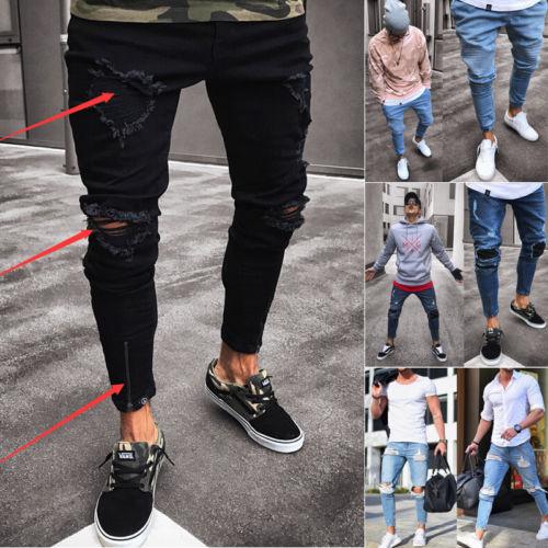 Thefound новое отверстие Джинсы для женщин Для мужчин; рваные обтягивающие джинсы уничтожены Изношенные Slim Fit Повседневное джинсовые узкие брюки молния черного и синего цвета s-2XL Лидер продаж