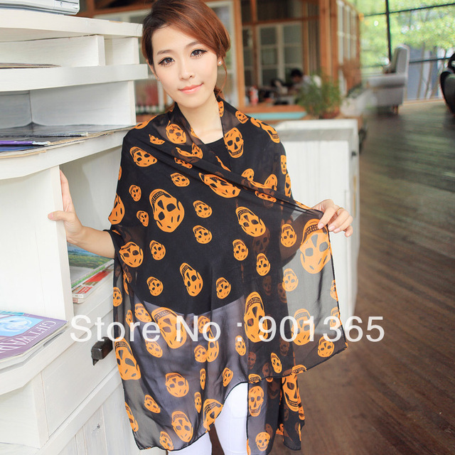 Autumn and winter women's all-match chiffon long silk scarf skull scarf cape
