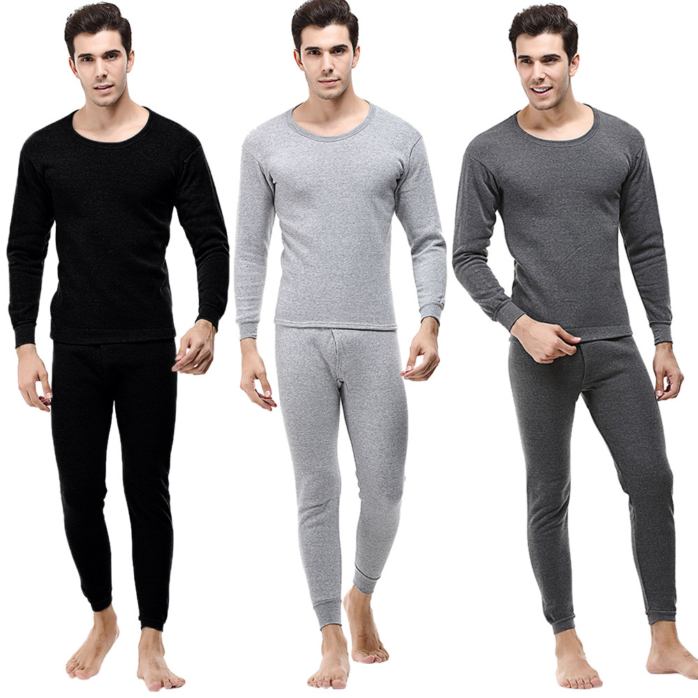 Men's Solid Winter Thermal Suit Circular Collar Pure Color Cashmere Long Sleeve Daily Underwear Set