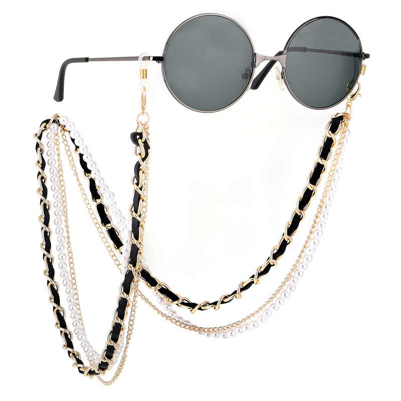 Sella New Arrival Fashion Pearl Leather Glasses Chain Trending Luxury Golden Silver Glasses Holder Lanyard Straps Neck Chain