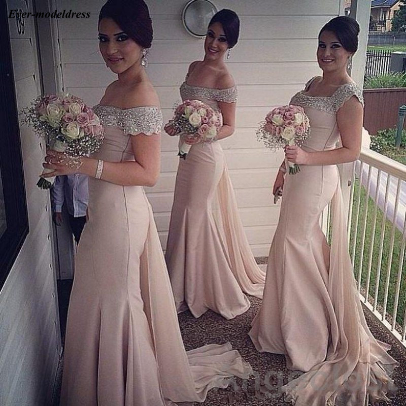 2019 Champagne Mermaid Wedding Guest   Dress   Beaded Collar Bodice   Bridesmaid     Dresses   With Train vestido madrinha longo