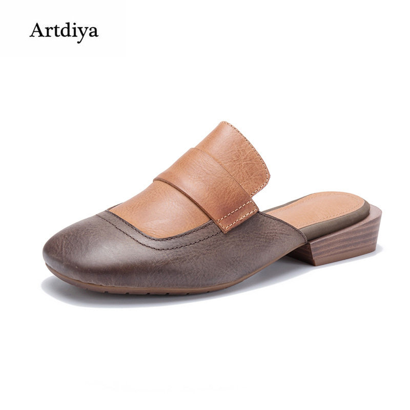 Artdiya Original Retro Leather Sandals 2018 New Top Layer Leather Women Slippers Mixed Colors Handmade Shoes T666-1 2018 new high end leather comfortable feet sandals classic sandals handmade leather slippers handmade leather slippers