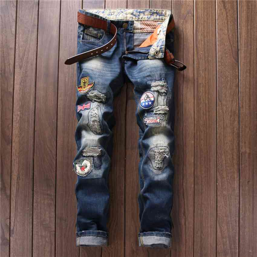 #2780 Embroidered jeans mens Fashion Ripped jeans Straight Skinny Biker jeans Vaqueros elasticos hombre High quality brand