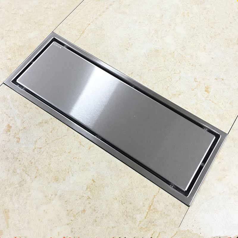304 Solid Stainless Steel 300X110 Mm Square Anti-bau Floor Drain Mandi Tak Terlihat Shower Drain