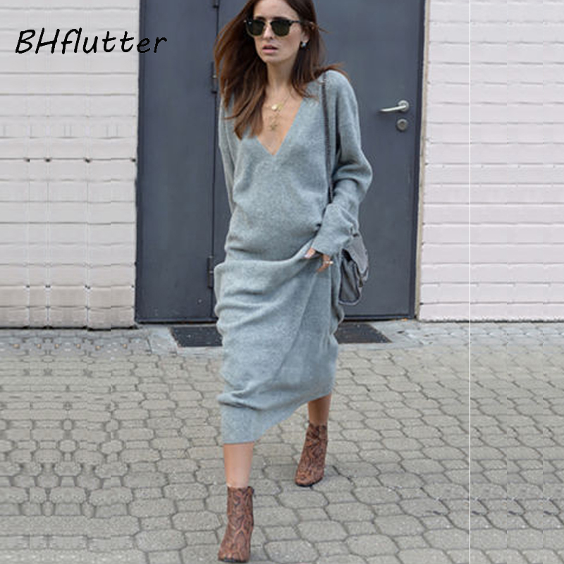 BHflutter 2018 New Fashion Winter Dress Women Long Sleeve V neck Autumn Knitted Dress Casual Loose Brief Maxi Sweater Dresses