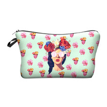 Hipster girl 3D Printing Makeup Bags organizer Cosmetic bag women Pouchs For Travel Ladies neceser make up bag pencil case